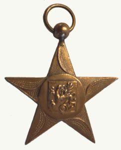 Goudkleurig metalen medaille in de vorm van een ster. Op de medaille staat het wapen van Weststellingwerf afgebeeld: een griffioen of grijpvogel, een fabeldier uit de oudheid.